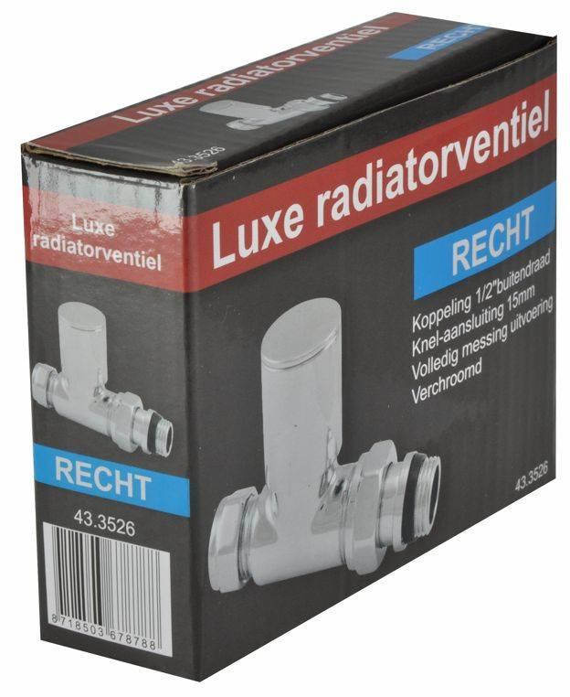 """Riko Riko luxe radiatorkraan 1/2""""x15 (M22) knel recht, chroom"""