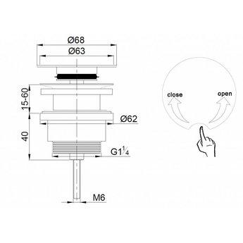 Saniglow Luxe draaiwaste 5/4 laag model chroom