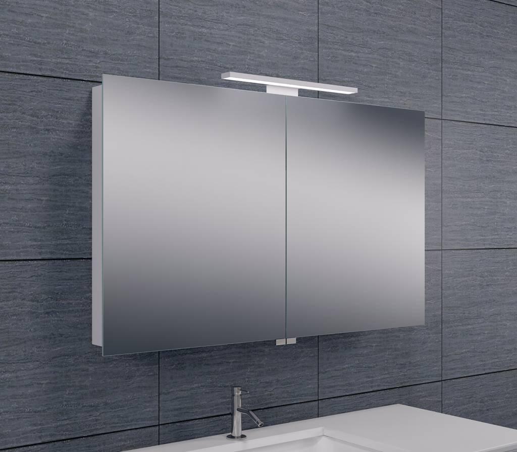 wiesbaden luxe aluminium spiegelkast met led verlichting 100x60x14cm