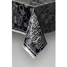 HB zwart/zilver glitter tafelkleed plastic