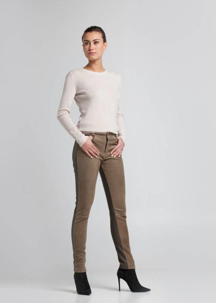 Leather pants FELICE Olive Green