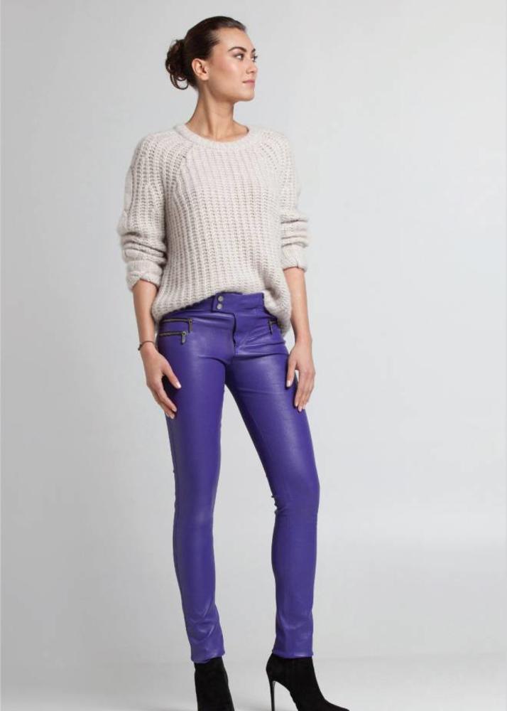 Leather Biker pants VANESSA Purple