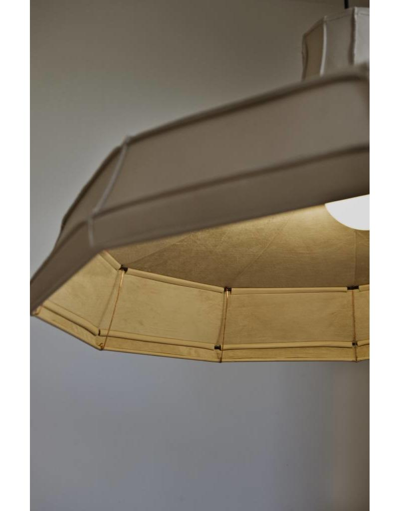 Leather Lampshade Vertical Grey