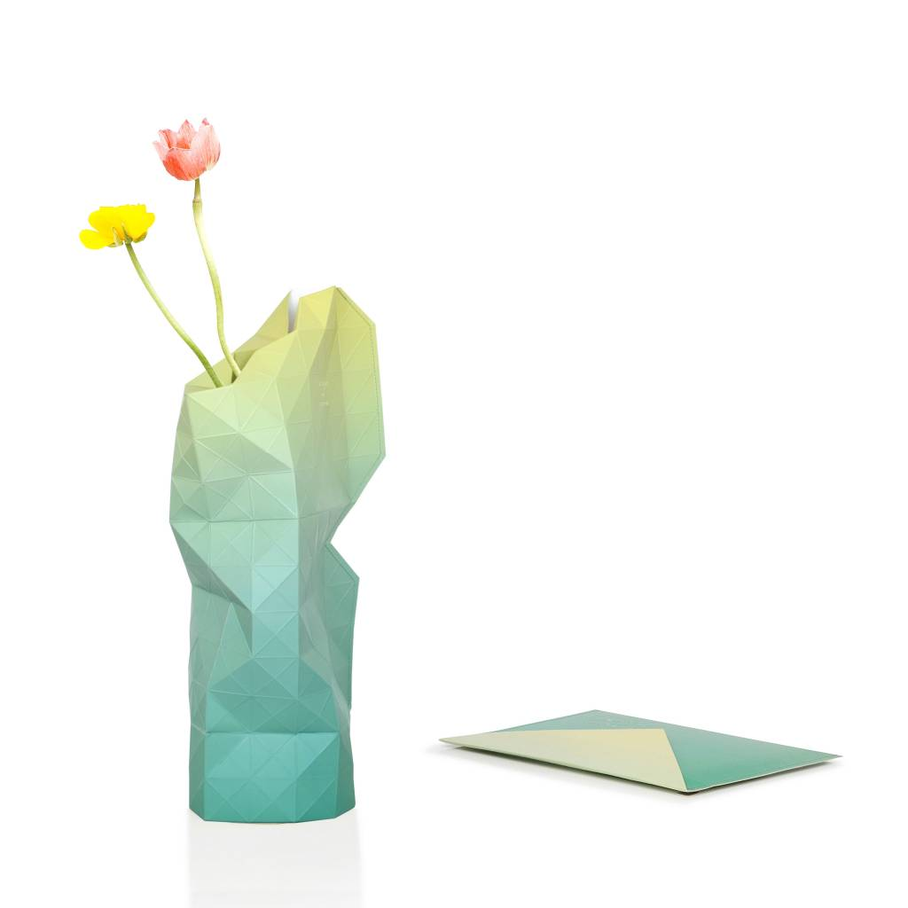 paper vase cover green fade tiny miracles designs on a mission