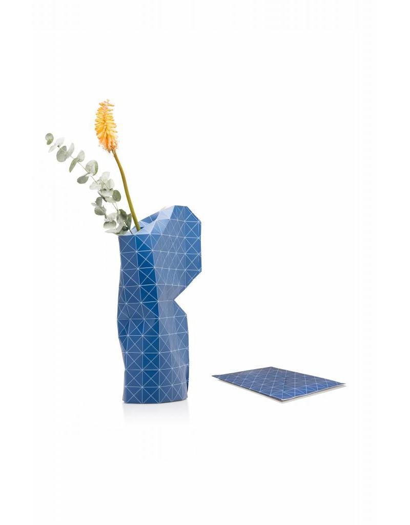 Paper Vase Cover Grid Blue