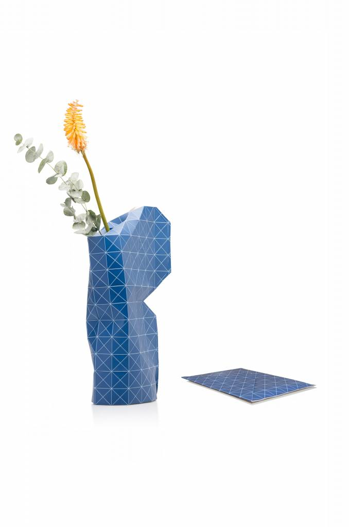 Paper Vase Cover Grid Blue