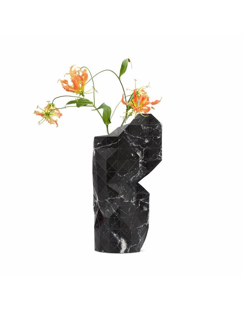 Paper Vase Cover Marble Black