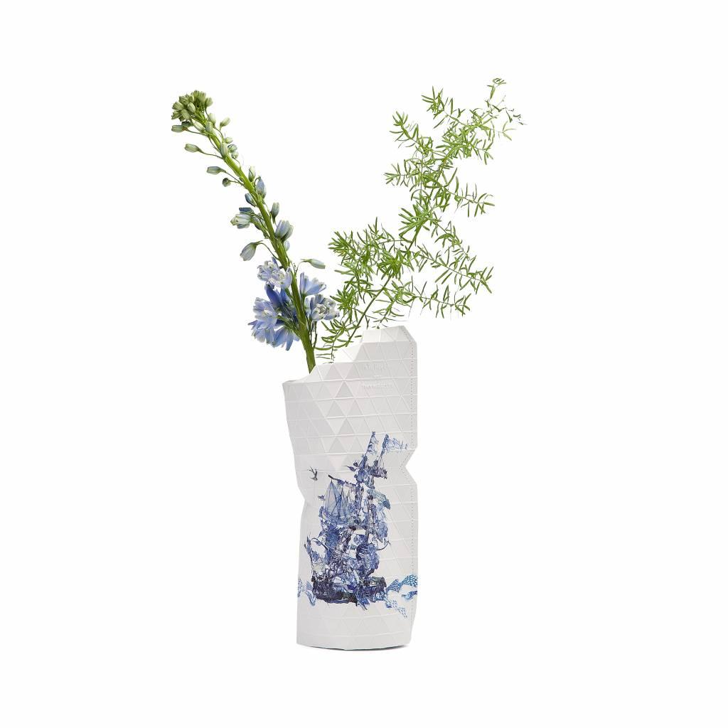 Paper Vase Cover Delft Blue (small)