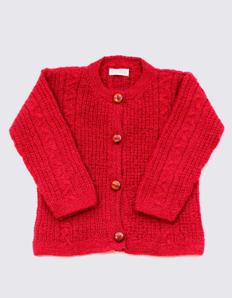 Rood alpacawol vestje met houten knopen