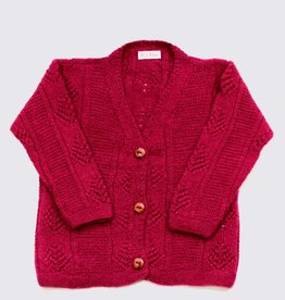 Burgundy red alpaca cardigan
