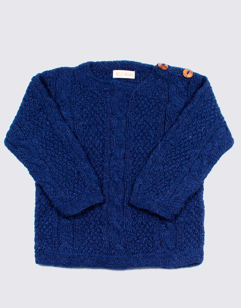 Blue alpaca cable swearer with wooden buttons