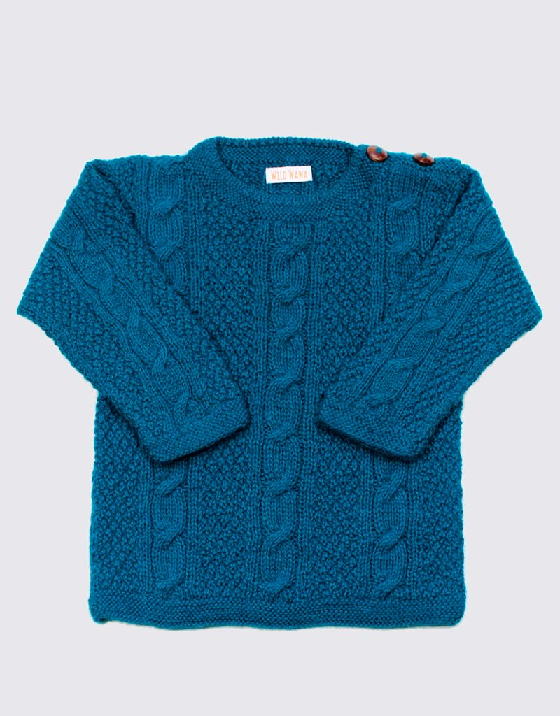 Alpaca cable sweater in turquoise with wooden buttons
