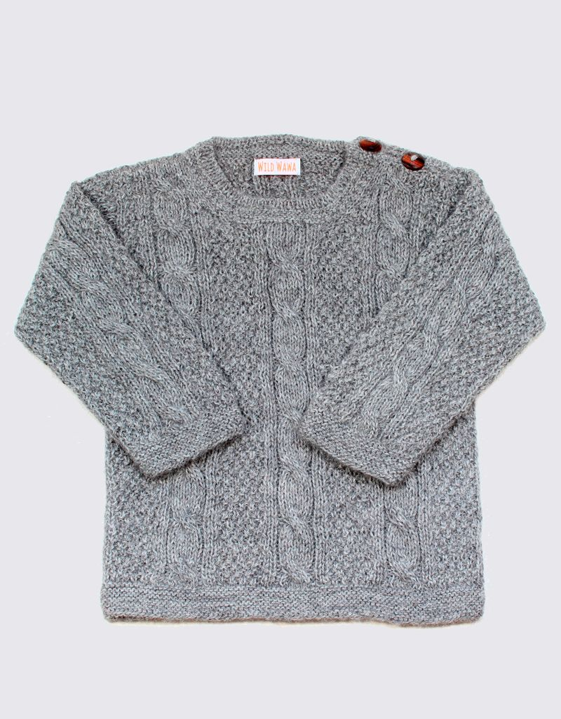 Alpaca cable sweater in light grey