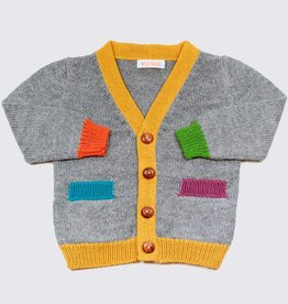 Alpaca cardigan in grey with colourful accents