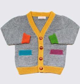 Alpaca vest in grijs met kleurrijke accenten