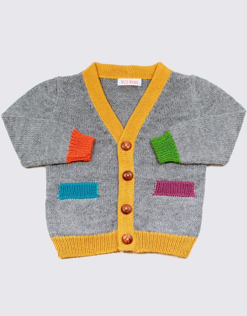Alpaca cardigan in grey with colourful accents and wooden buttons