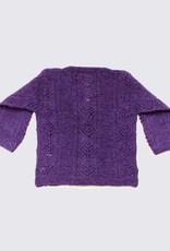 Purple alpaca cardigan with wooden buttons
