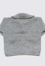 Natural grey alpaca sweater in with collar and buttons