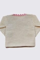 Alpaca vest in gebroken en zachtroze met overslag en houten knopen