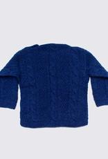 Blauw alpaca kabeltruitje met houten knopen