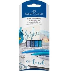 Faber Castell Faber-Castell Pitt Artist Pen Kalligrafiepen set a 4 stuks