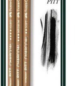 Faber Castell Faber Castell Pitt Monochrome geperst houtskool 3 stuks op blister