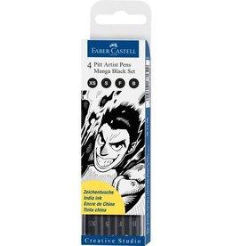 Faber Castell tekenstift Faber Castell Pitt Artist Pen Manga 4-delig etui Black
