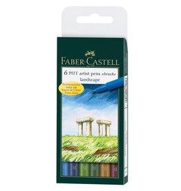 Faber Castell tekenstift Faber Castell Pitt Artist Pen 6-delig etui Landscape