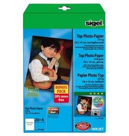 Sigel inkjetfotopapier Sigel Top 10x15 wit 210gr glans 20+4 vel