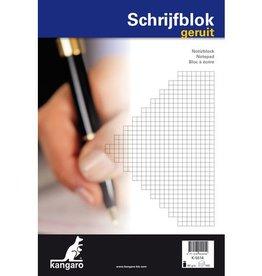 Kangaro Schrijfblok, kopgeniet, 100 vel, 60 grs houtvrij papier. A4 ruit 5mm.