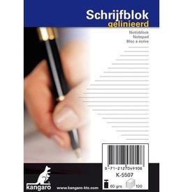 Kangaro Schrijfblok, kopgeniet, 100 vel, 60 grs houtvrij papier. A7 lijn.