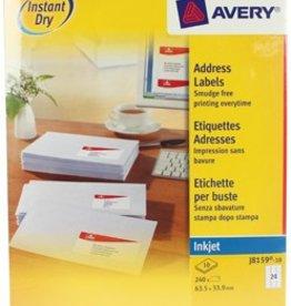 Avery Avery Witte etiketten QuickDry doos van 10 blad, ft 63,5 x 33,9 mm (b x h) J815910