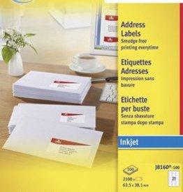 Avery AVERY Witte etiketten inkjet QuickDry™ P2100 63,5X38,1 INKJET ETIK