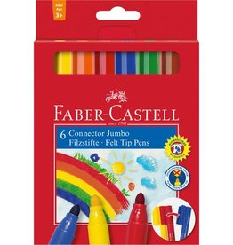 Faber Castell Faber Castell Jumbo Connector kartonetui met 6 stuks viltstiften