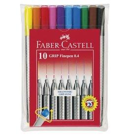 Faber Castell Faber Castell GRIP 0,4mm etui a 10 stuks assorti fineliners