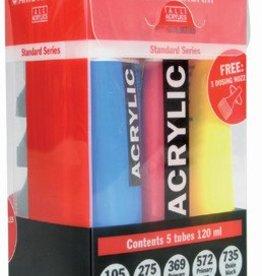 Talens Talens acrylverf Amsterdam, doos van 5 tubes van 120 ml in primaire kleuren