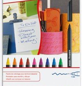 Edding Edding viltstift e-1200 10 stiften in geassorteerde kleuren in een metalen doos