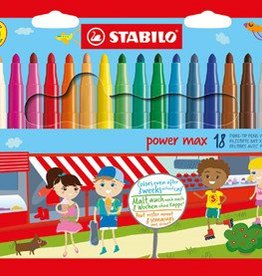Stabilo Stabilo Power Max kleurstiften, etui van 18 stuks