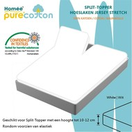 Homee Splittopper Hoeslaken Jersey Supreme Stretch - Wit - (180x200/210/220+15cm)