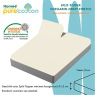 Homee Splittopper Hoeslaken Jersey Supreme Stretch - Ecru - (180x200/210/220+15cm)