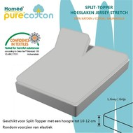 Homee Splittopper Hoeslaken Jersey Supreme Stretch - Grijs - (180x200/210/220+15cm)
