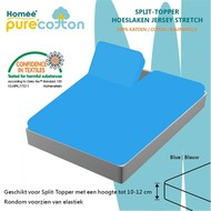 Homee Splittopper Hoeslaken Jersey Supreme Stretch - Blauw - (180x200/210/220+15cm)