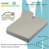 Homee Splittopper Hoeslaken Jersey Supreme Stretch - Neutraal - (180x200/210/220+15cm)