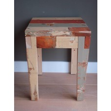 """Hovden"" Hocker/ Beistelltisch aus recyceltem Holz"