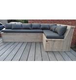 harstad garten bauholz eckbank mit kissen pure wood design. Black Bedroom Furniture Sets. Home Design Ideas