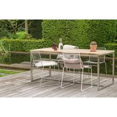 """""""Alta""""  Tisch aus Bauholz mit Untergestell aus Edelstahl"""
