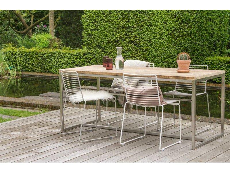 alta garten tisch aus bauholz mit untergestell aus edelstahl pure wood design. Black Bedroom Furniture Sets. Home Design Ideas