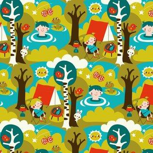 BORA illustraties Bora behang kinderkamer - Camping