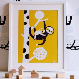BORA illustraties Poster (A3) Luiaard moeder en kind
