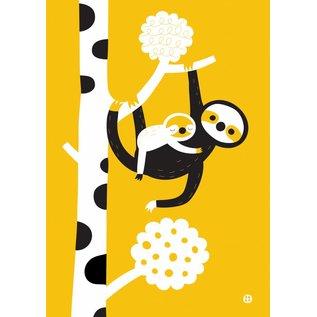 BORA illustraties BORA Poster (A3) Luiaard moeder en kind (Mommy Sloth)